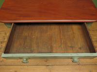 Antique Writing Table with Painted Duck Egg Base & Drawer (4 of 16)