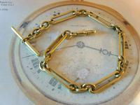 Antique Pocket Watch Chain 1890 Victorian Large Brass Fancy Albert With T Bar (3 of 11)