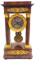 Fine Antique Flame Mahogany Mantel Clock French Striking Portico Mantle Clock (10 of 13)