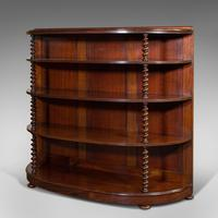 Antique Whatnot Bookshelf, English, Mahogany, Demi-lune, Bookcase, Victorian (3 of 12)