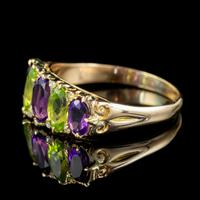 Antique Edwardian Suffragette Ring 18ct Gold Peridot Amethyst Diamond c.1910 (4 of 5)