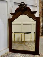 French Carved Flame Mahogany Wall Mirror