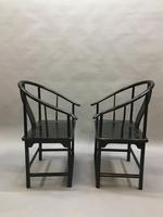 Pair Chinese ebonised horseshoe chairs (7 of 11)