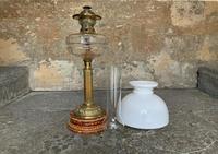 Superb Tall 19thc 'Matador' Brown Ceramic & Milky White Brass Table Oil Lamp (2 of 12)