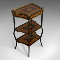 Antique Etagere, Italian, Mahogany, Boxwood, 3 Tier Whatnot, Victorian c.1900 (10 of 12)