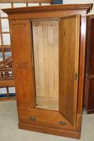 1940's Mirrored 1 Door Oak Wardrobe With Large Drawer. (2 of 5)