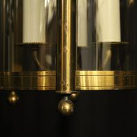 French Gilded Pair of Convex Triple Light Lanterns c.1930 (8 of 10)