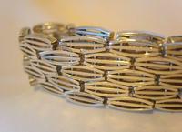 "Vintage Sterling Silver Gate Bracelet 1975 Chunky Heart Padlock 7 1/2"" Length 35 Grams (6 of 10)"