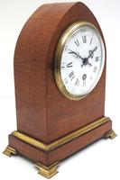 French Lancet Walnut Mantel Clock 8-day Front Wind Mantle (3 of 10)