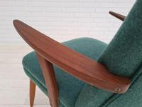 Danish Armchair, completely renovated, wool, teak, 1960s (11 of 16)