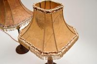 Pair of Antique Walnut Table Lamps with Parchment Shades (4 of 7)