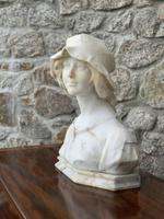 Alabaster Bust of Young Girl Wearing a Bonnet (3 of 25)