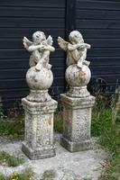 Pair of Terracotta Cherub Garden Sculptures (4 of 12)