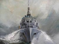 Oil on Board The Battle Ship Listed Artist Dion Pears (3 of 12)