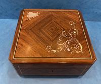 19th Century French Angle Cut Rosewood & Ebony Box with Inlay
