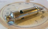 Vintage Pocket Watch Fob 1940s Large Silver Chrome Railway Or Military Police Whistle Fob (2 of 9)