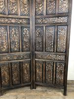 Vintage Indian Hardwood Three Panel Screen Room Divider (m-1806) (2 of 10)