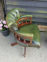 Vintage Mahogany Green Leather Captains Chair (2 of 6)