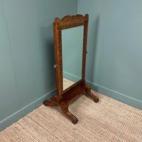 Elegant Small Victorian Inlaid Antique Cheval Mirror (4 of 6)