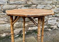 Antique Victorian Octagonal Bamboo Rattan Table (4 of 9)