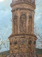 "19th Century English Oil Painting View ""St Marys Church Banbury Oxfordshire"" (8 of 24)"