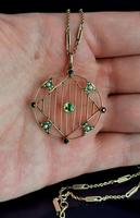 Antique Edwardian 9ct Gold Pendant, Peridot, Garnet and Pearl (9 of 10)