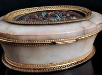 Antique French Jewellery Casket, Alabaster, Ormolu, Dried Flowers (9 of 13)