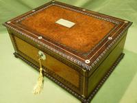 QUALITY Inlaid Rosewood & Amboyna Jewellery – Work Box. c1840 (7 of 16)