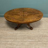 Spectacular Inlaid Walnut Antique Coffee Table (7 of 7)