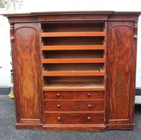 1900s Mahogany 4 Door Breakfront Wardrobe with Slides (2 of 6)
