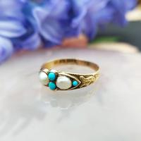 Antique Victorian 15ct Gold Turquoise & Pearl Ring (2 of 9)
