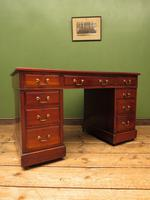 Handsome Antique Pedestal Desk with New Black Leather to Top (15 of 21)
