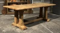French Bleached Oak Trestle Farmhouse Dining Table