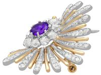 1.01ct Amethyst and 1.69ct Diamond, Platinum and 14ct Yellow Gold Brooch - Art Deco - Vintage Circa 1940 (7 of 9)