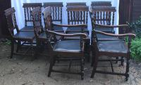 1910's Dark Oak Set of 10 Carved Dining Chairs with Pop out Seats. 8+2 Carvers (5 of 5)