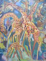 Large oil on board Giraffes in the park listed artist Henry Sanders (10 of 11)