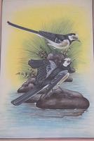Set of Three Early 20th Century Silk Bird Paintings (8 of 10)