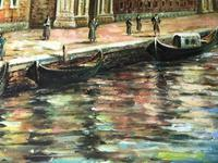 Large Italian Art Impressionism Oil Marine Painting Ships Docked Island Giudecca Venice Waterfront (6 of 12)