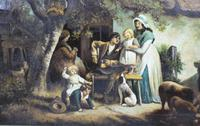 Pair of Early 19th Century Country Genre Scenes Oil on Canvas (21 of 21)