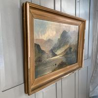 Antique large Scottish landscape oil painting of cottage by loch signed Montgomery Ansell (9 of 10)