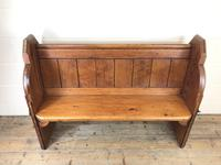 Antique Pitch Pine Chapel Pew with Shaped Sides (3 of 14)