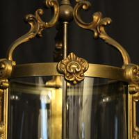 French Gilded Bronze Antique Hall Lantern (3 of 9)