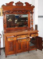 1900's Large Carved Walnut Sideboard with Mirror Back & Fluted Columns (2 of 3)