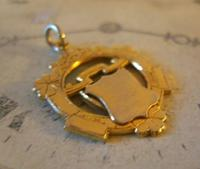 Vintage Pocket Watch Chain Fob 1950s Victorian Revival 12ct Gold Plated Shield Fob (3 of 5)