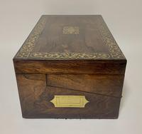 Superb Antique Rosewood Brass Inlaid Writing Slope Box with Double Hinge (12 of 12)