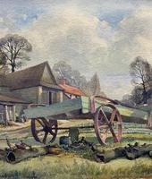The Green Cart by R.Coleman 1971 - Fine Farmstead Landscape Watercolour Painting (5 of 11)