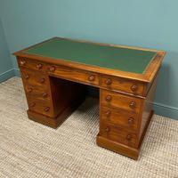 Large Victorian Mahogany Antique Pedestal Desk (5 of 7)