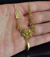 Antique Art Nouveau Drop Necklace, Floral, 22ct Gold (12 of 12)