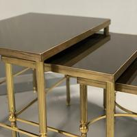 Nest of 3 Brass & Dark Glass Tables (2 of 6)