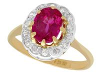 1.55ct Ruby & 0.33ct Diamond, 18ct Yellow Gold Cluster Ring - Vintage c.1960